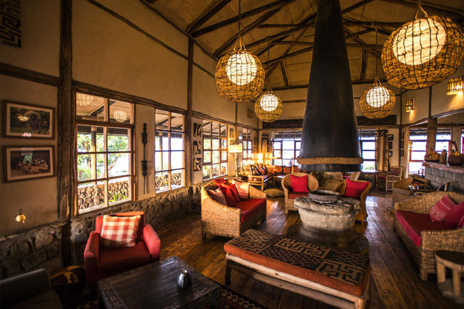 The Guest Lounge at Virunga Lodge